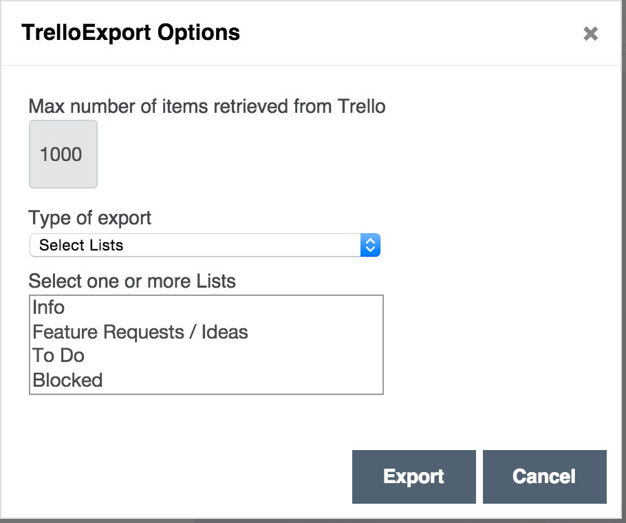 Options dialog - export choosen list(s)